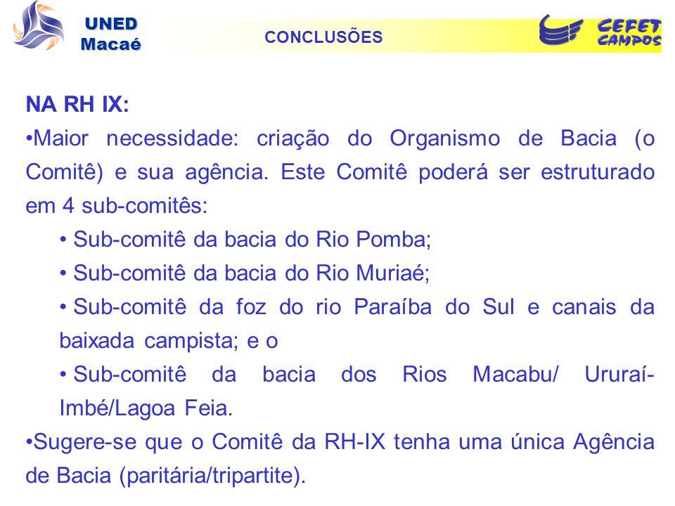 UNED Macaé NA RH IX: Maior necessidade: criação do Organismo de Bacia (o Comitê) e sua agência. Este Comitê poderá ser estruturado em 4 sub-comitês: S