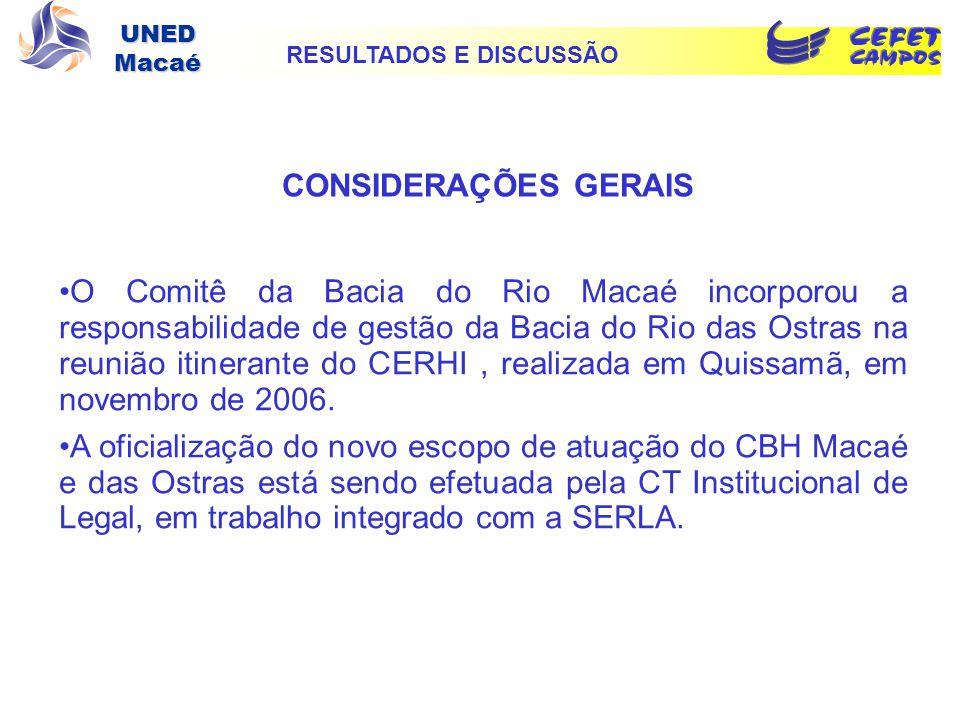 UNED Macaé CONSIDERAÇÕES GERAIS O Comitê da Bacia do Rio Macaé incorporou a responsabilidade de gestão da Bacia do Rio das Ostras na reunião itinerant