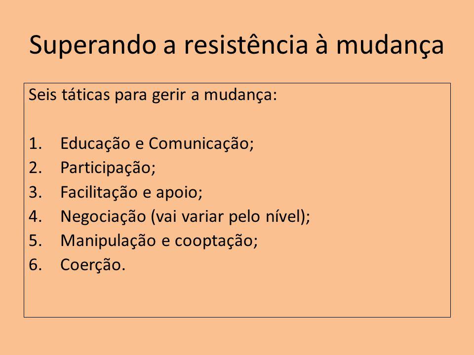 Superando a resistência à mudança Seis táticas para gerir a mudança: 1.Educação e Comunicação; 2.Participação; 3.Facilitação e apoio; 4.Negociação (va