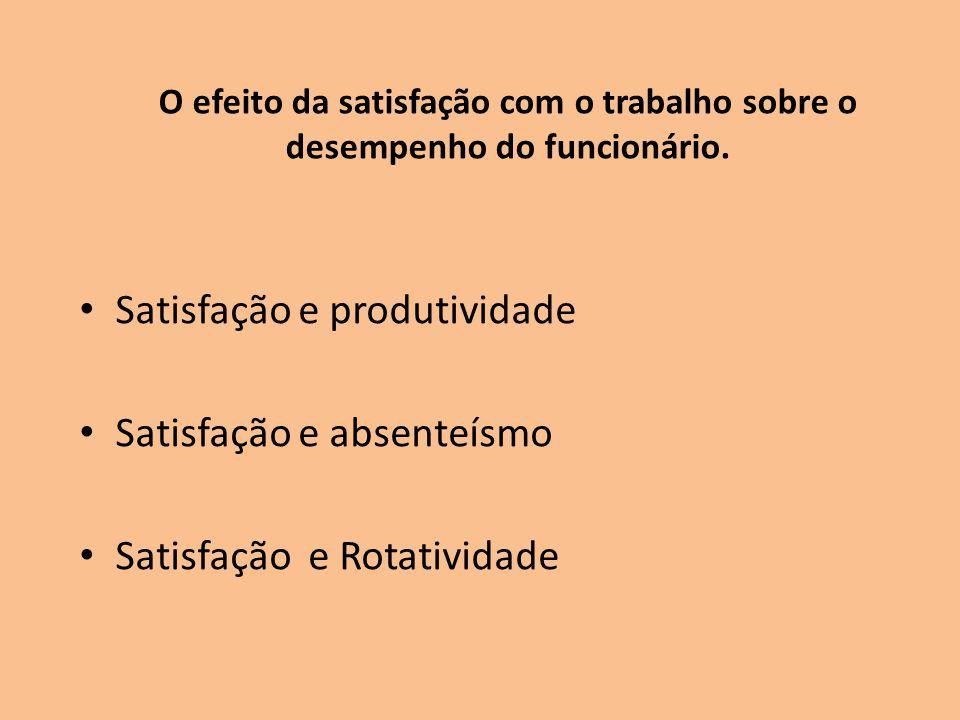 O efeito da satisfação com o trabalho sobre o desempenho do funcionário. Satisfação e produtividade Satisfação e absenteísmo Satisfação e Rotatividade