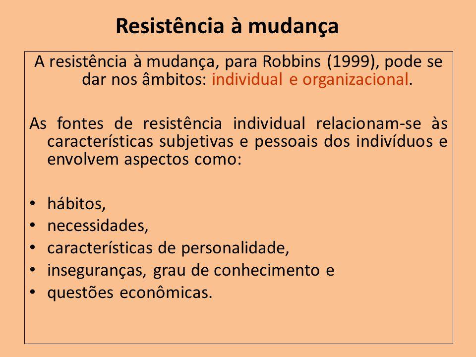 Resistência à mudança A resistência à mudança, para Robbins (1999), pode se dar nos âmbitos: individual e organizacional. As fontes de resistência ind