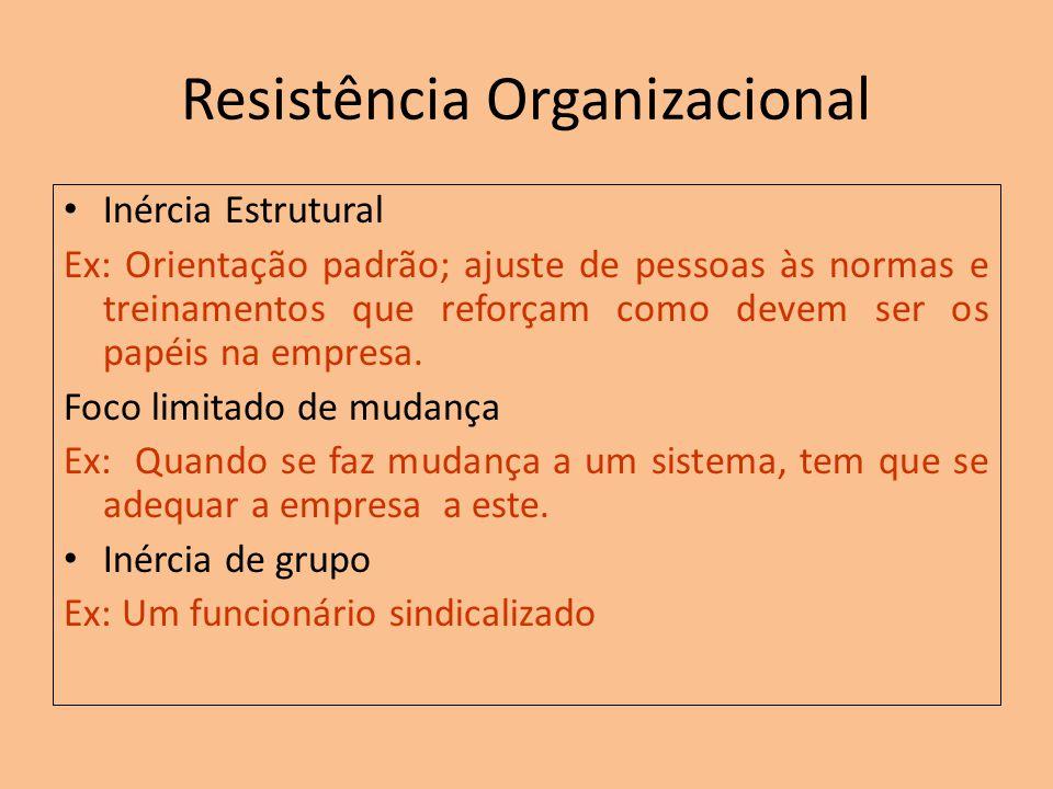 Resistência Organizacional Inércia Estrutural Ex: Orientação padrão; ajuste de pessoas às normas e treinamentos que reforçam como devem ser os papéis