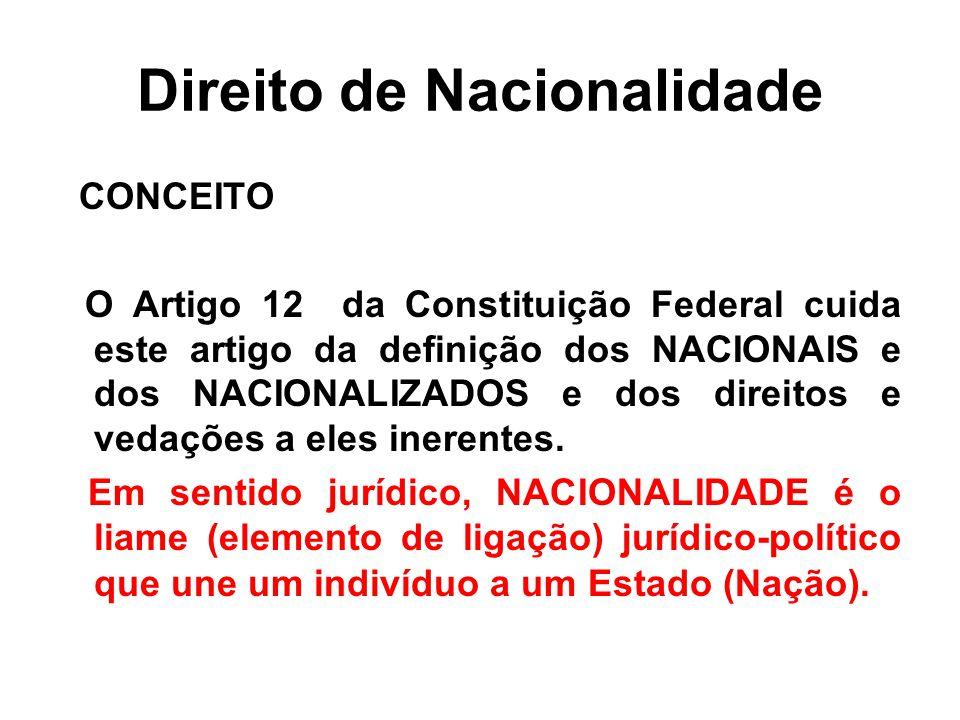 Direito de Nacionalidade CONCEITO O Artigo 12 da Constituição Federal cuida este artigo da definição dos NACIONAIS e dos NACIONALIZADOS e dos direitos e vedações a eles inerentes.