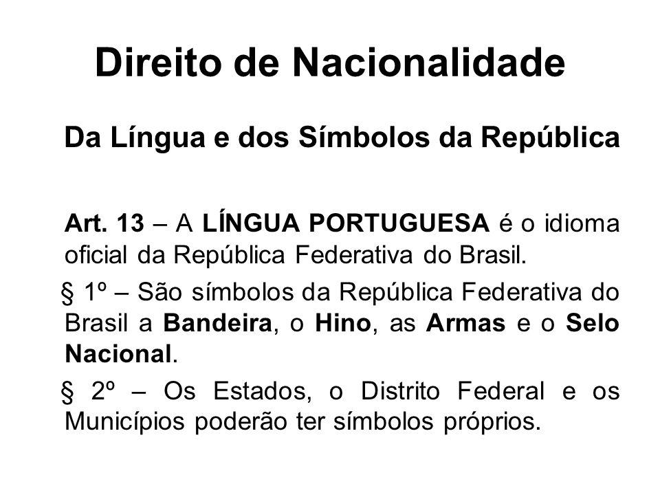 Direito de Nacionalidade Da Língua e dos Símbolos da República Art.