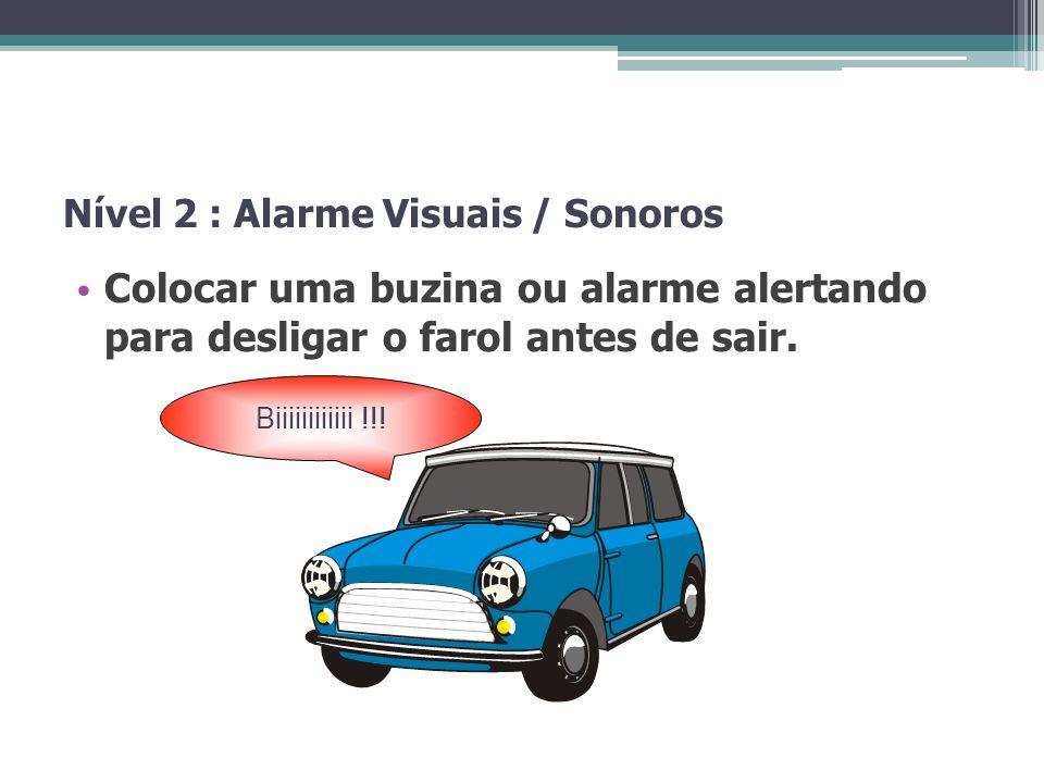 Nível 2 : Alarme Visuais / Sonoros Colocar uma buzina ou alarme alertando para desligar o farol antes de sair. Biiiiiiiiiiii !!!