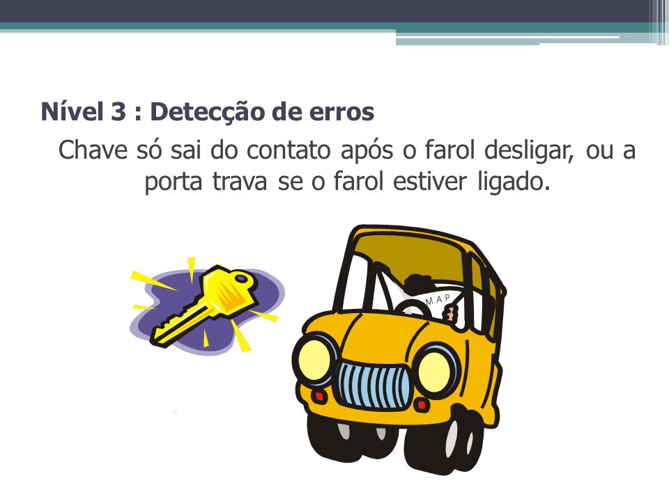 Nível 3 : Detecção de erros Chave só sai do contato após o farol desligar, ou a porta trava se o farol estiver ligado.