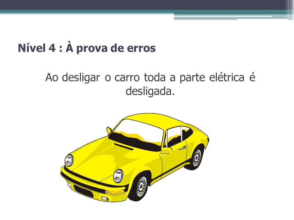 Nível 4 : À prova de erros Ao desligar o carro toda a parte elétrica é desligada.