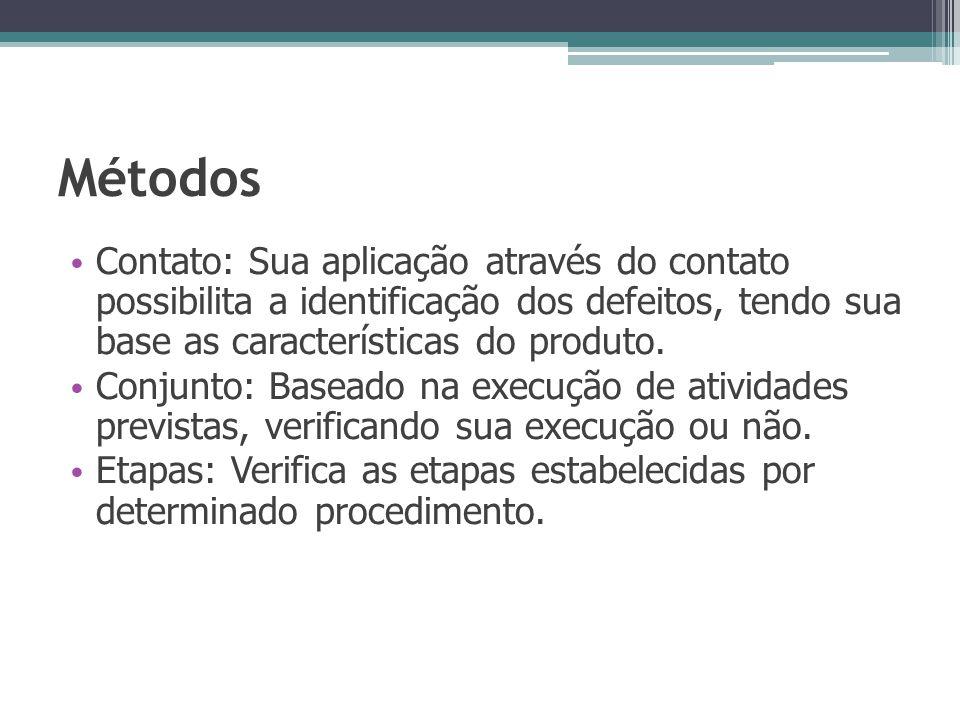 Métodos Contato: Sua aplicação através do contato possibilita a identificação dos defeitos, tendo sua base as características do produto. Conjunto: Ba
