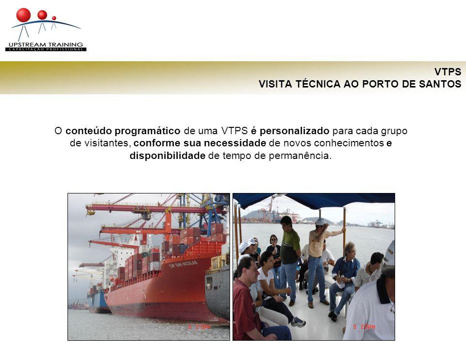 VTPS VISITA TÉCNICA AO PORTO DE SANTOS As VTPS variam entre 1 e 3 dias e incluem atividades diversificadas como: palestras técnicas, visitas à CODESP, Terminal Cia.