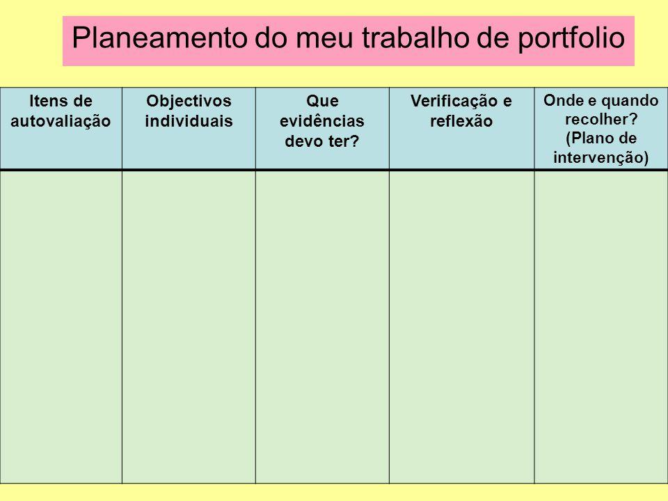 Planeamento do meu trabalho de portfolio Itens de autovaliação Objectivos individuais Que evidências devo ter? Verificação e reflexão Onde e quando re