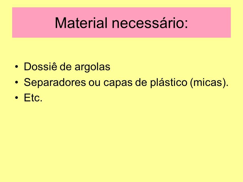 Material necessário: Dossiê de argolas Separadores ou capas de plástico (micas). Etc.