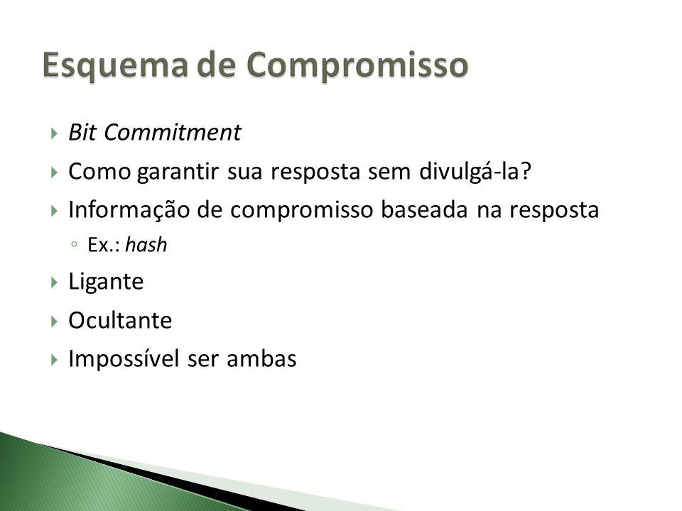 Bit Commitment Como garantir sua resposta sem divulgá-la? Informação de compromisso baseada na resposta Ex.: hash Ligante Ocultante Impossível ser amb