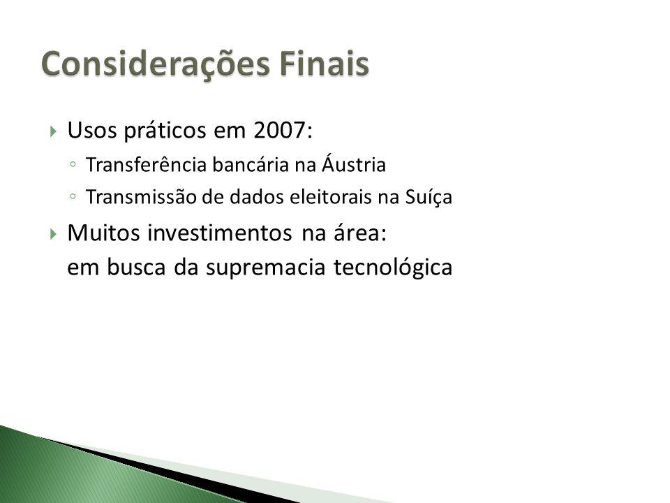 Usos práticos em 2007: Transferência bancária na Áustria Transmissão de dados eleitorais na Suíça Muitos investimentos na área: em busca da supremacia
