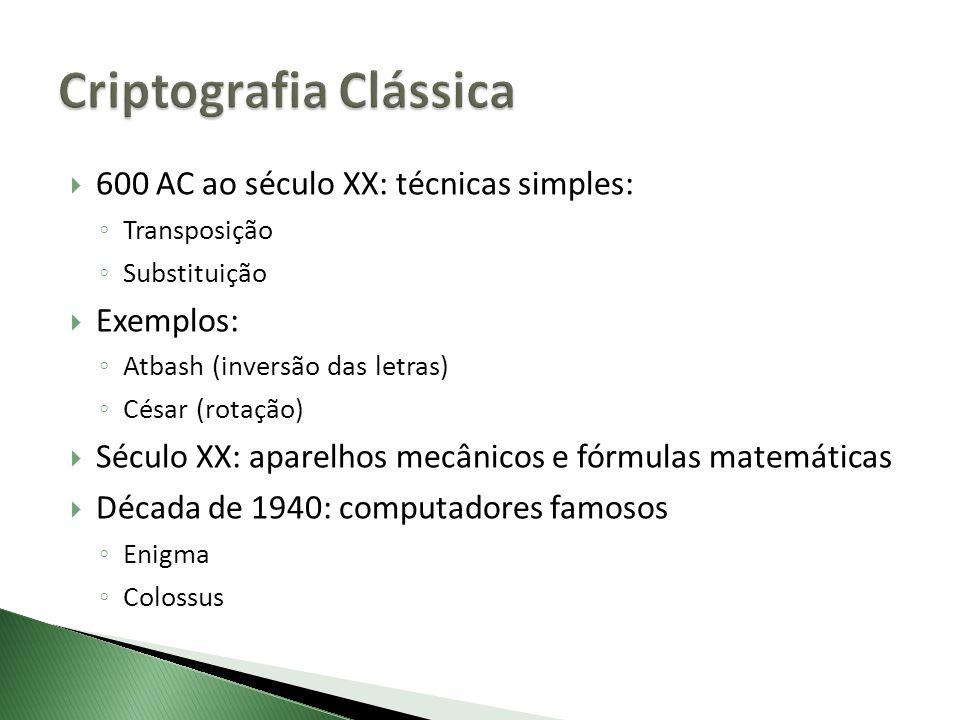 600 AC ao século XX: técnicas simples: Transposição Substituição Exemplos: Atbash (inversão das letras) César (rotação) Século XX: aparelhos mecânicos