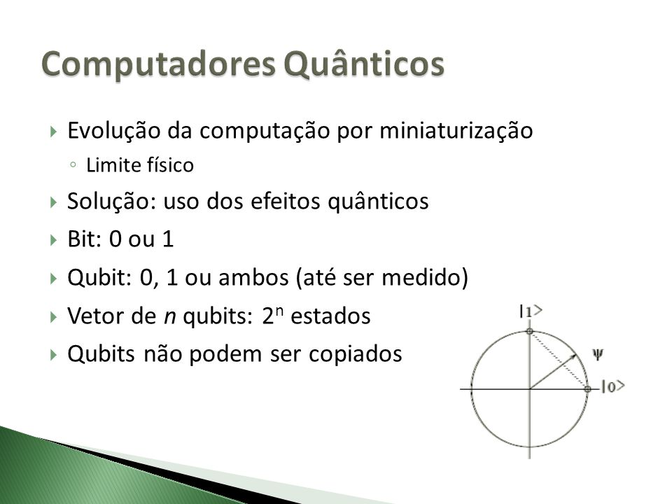 Evolução da computação por miniaturização Limite físico Solução: uso dos efeitos quânticos Bit: 0 ou 1 Qubit: 0, 1 ou ambos (até ser medido) Vetor de