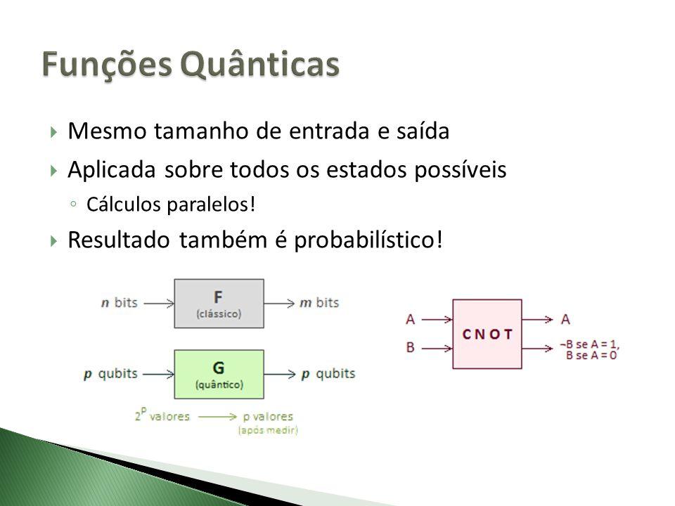 Mesmo tamanho de entrada e saída Aplicada sobre todos os estados possíveis Cálculos paralelos! Resultado também é probabilístico!