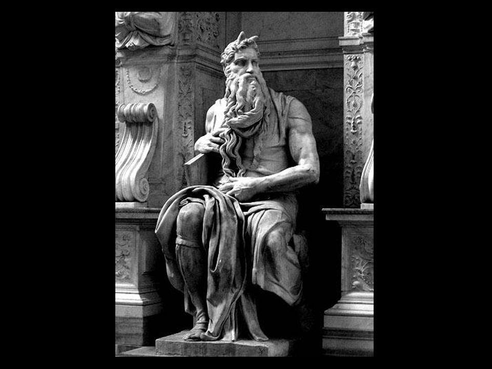Michelangelo esculpe Moisés entre 1513 e 1515. Concebido em seu início para a tumba do papa Julio II na Basílica de São Pedro, fazia parte de um grand