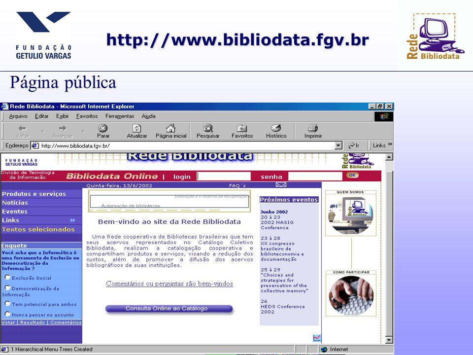 Página restrita às Bibliotecas Cooperantes http://www.bibliodata.fgv.br