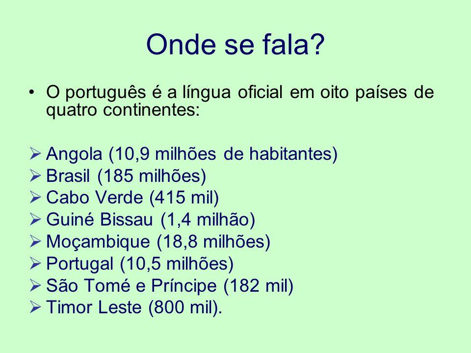 Onde se fala? O português é a língua oficial em oito países de quatro continentes: Angola (10,9 milhões de habitantes) Brasil (185 milhões) Cabo Verde