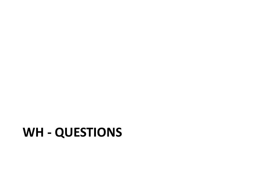 WH - Questions Usamos palavras interrogativas para fazer certos tipos de perguntas.