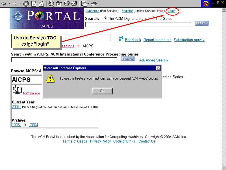 Uso do Serviço TOC exige login Uso do Serviço TOC exige login