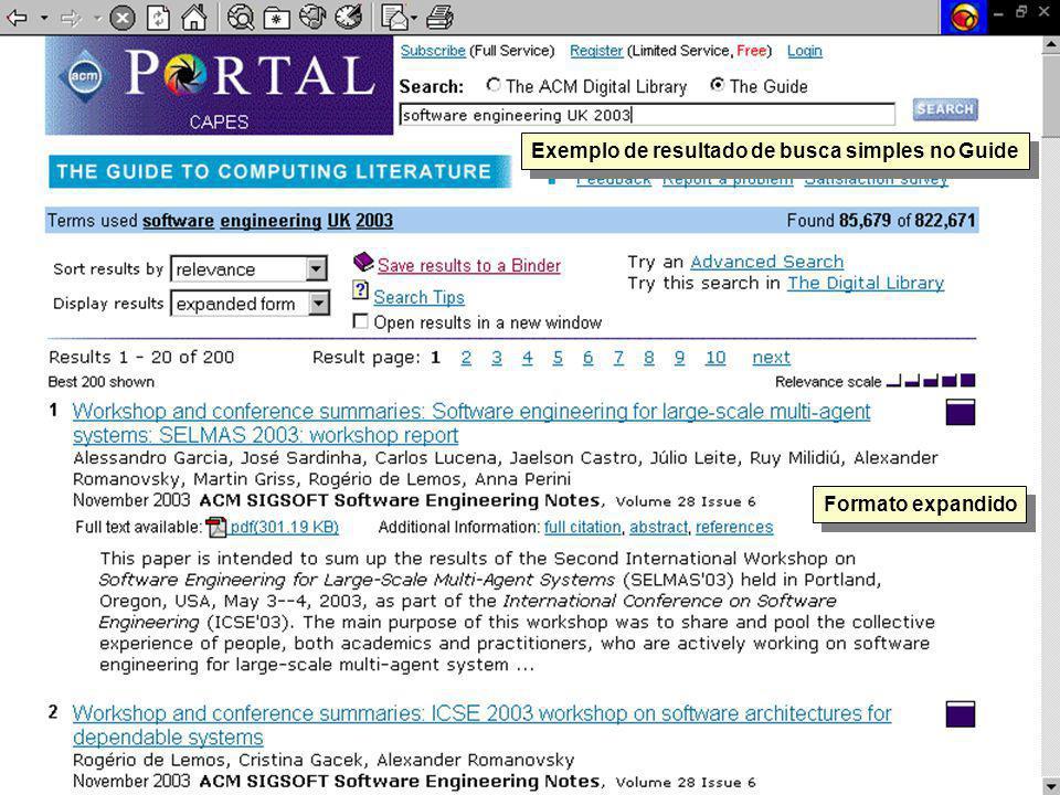 Exemplo de resultado de busca simples no Guide Formato expandido