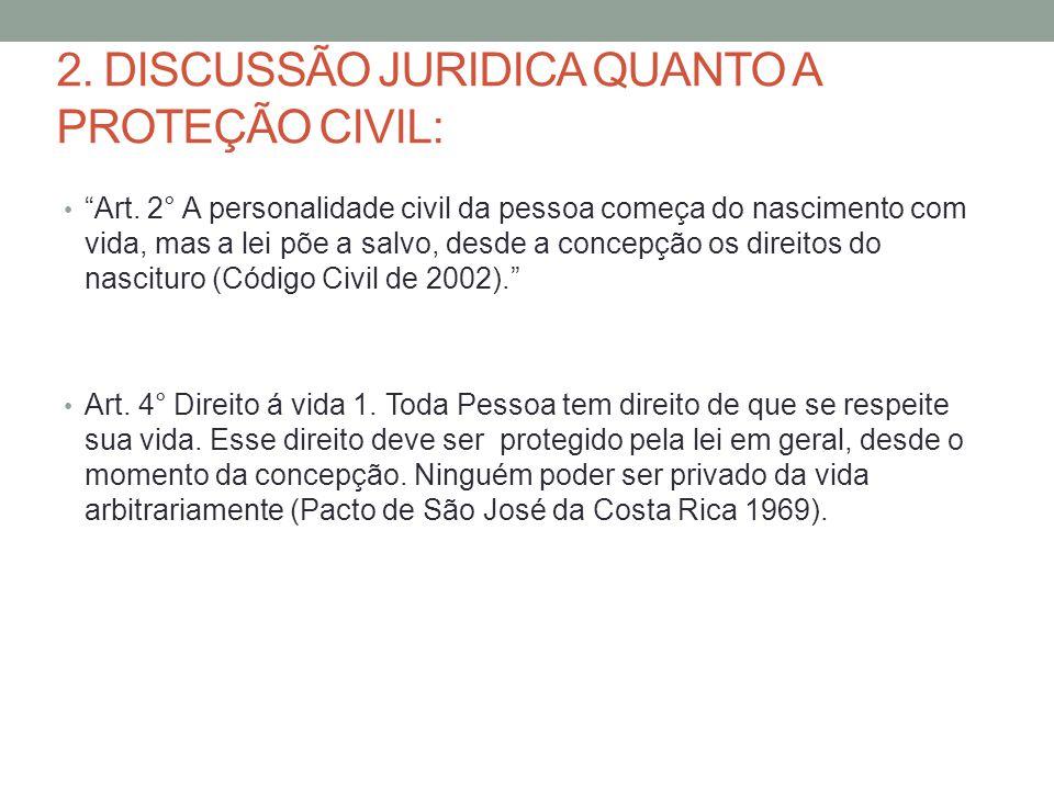 2.DISCUSSÃO JURIDICA QUANTO A PROTEÇÃO CIVIL: Art.
