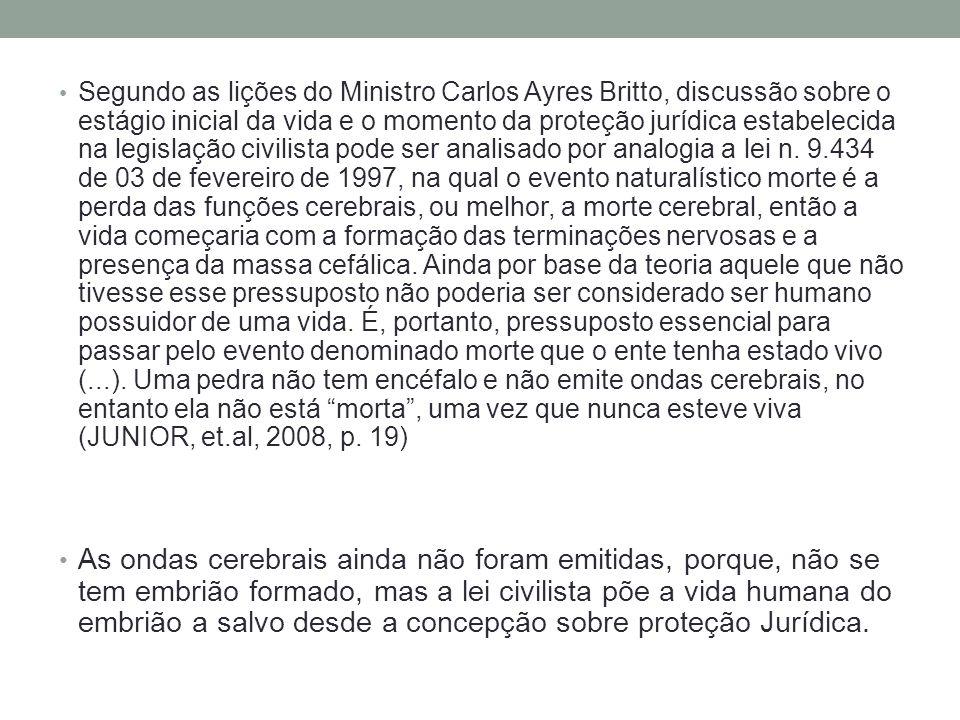 Segundo as lições do Ministro Carlos Ayres Britto, discussão sobre o estágio inicial da vida e o momento da proteção jurídica estabelecida na legislação civilista pode ser analisado por analogia a lei n.