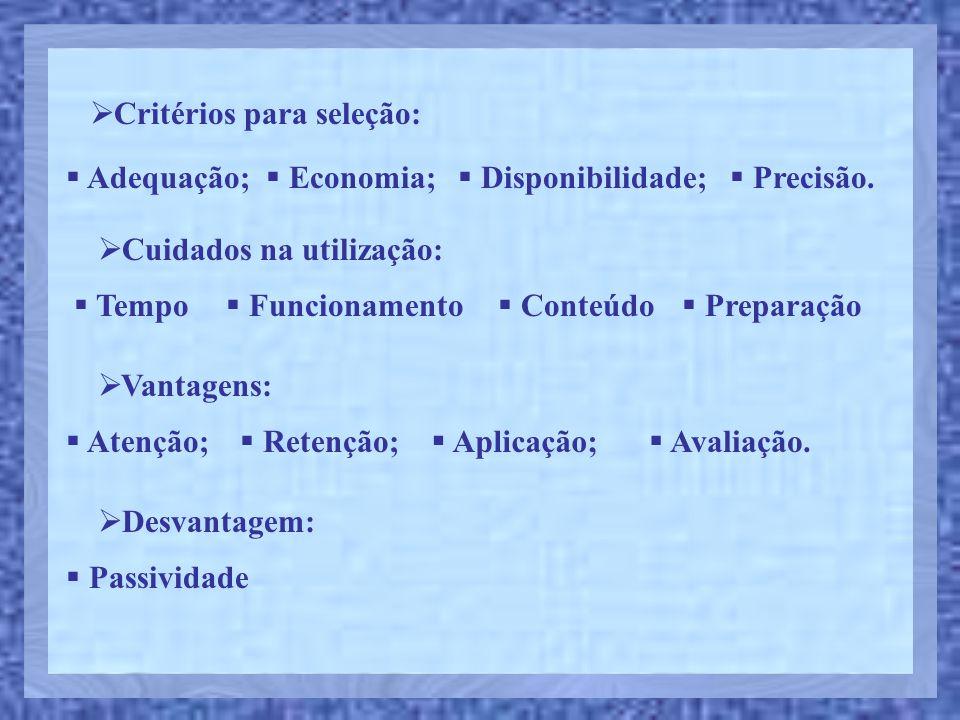 Critérios para seleção: Adequação; Economia; Disponibilidade; Precisão. Cuidados na utilização: Funcionamento Conteúdo Tempo Preparação Vantagens: Ate