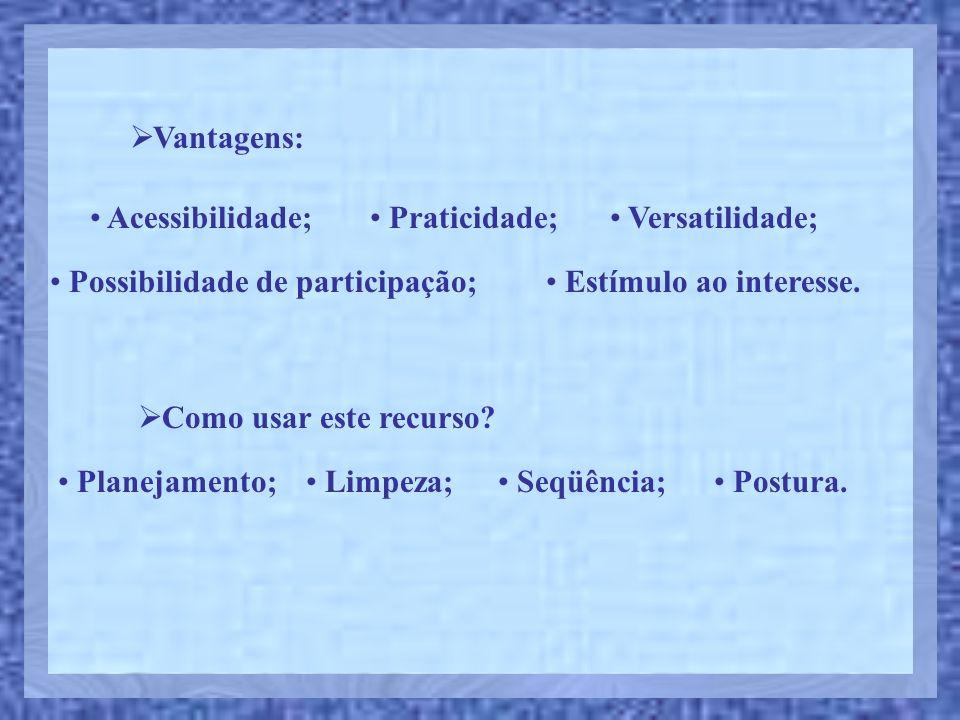 Vantagens: Acessibilidade; Praticidade; Versatilidade; Possibilidade de participação; Estímulo ao interesse. Como usar este recurso? Planejamento; Lim