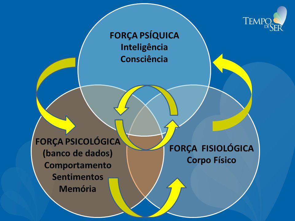 FORÇA FISIOLÓGICA Corpo Físico FORÇA PSICOLÓGICA (banco de dados) Comportamento Sentimentos Memória FORÇA PSÍQUICA Inteligência Consciência