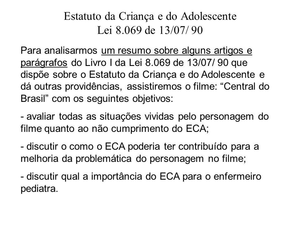 Estatuto da Criança e do Adolescente Lei 8.069 de 13/07/ 90 Para analisarmos um resumo sobre alguns artigos e parágrafos do Livro I da Lei 8.069 de 13
