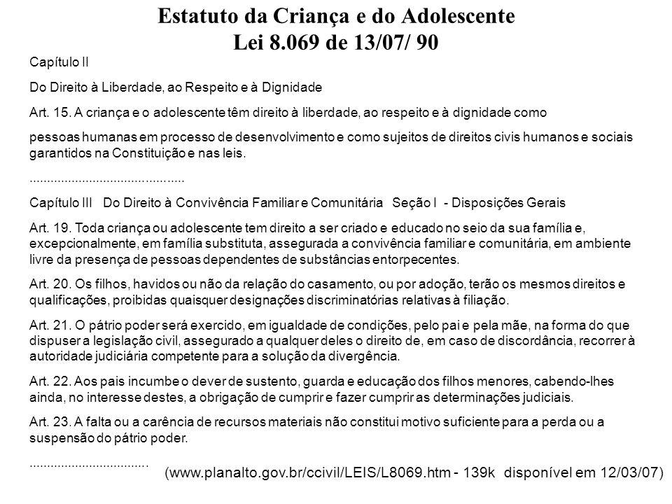 Estatuto da Criança e do Adolescente Lei 8.069 de 13/07/ 90 Seção II Da Família Natural Art.
