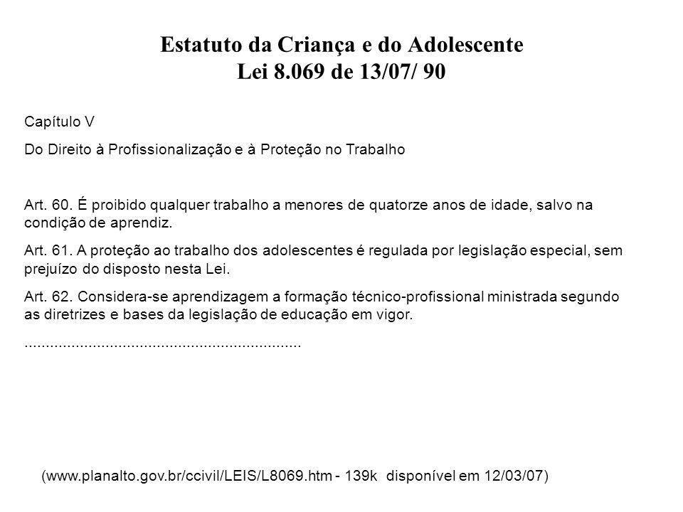 Estatuto da Criança e do Adolescente Lei 8.069 de 13/07/ 90 Capítulo V Do Direito à Profissionalização e à Proteção no Trabalho Art. 60. É proibido qu