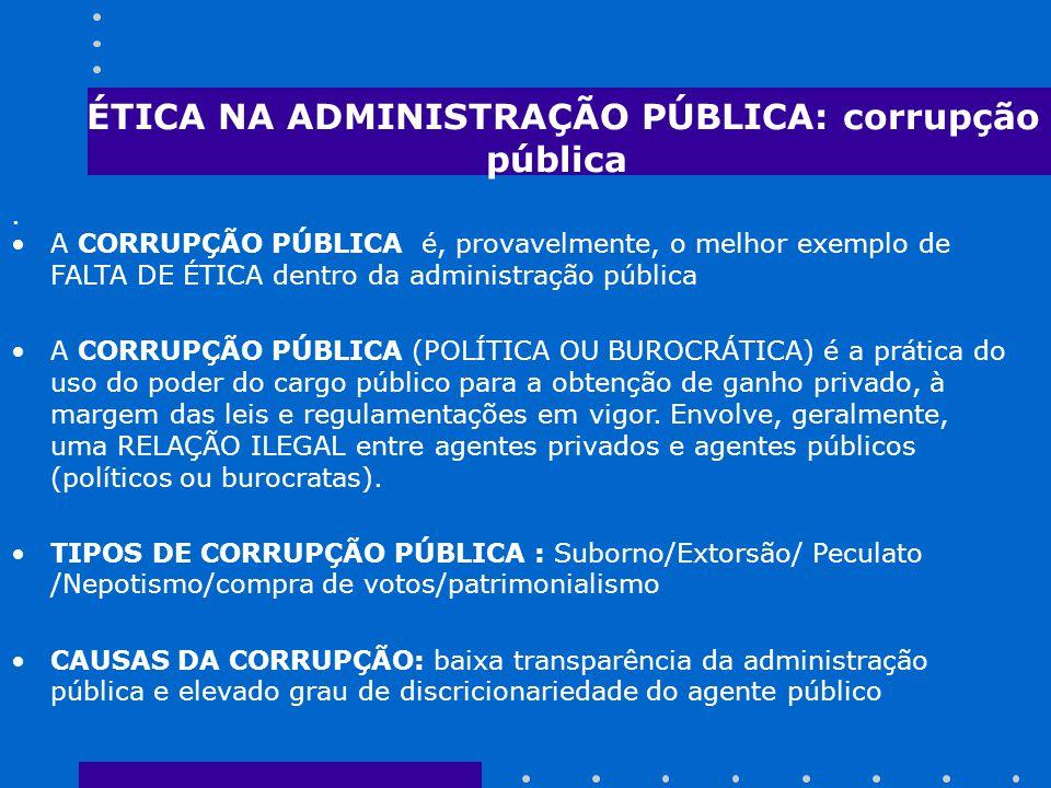 ÉTICA NA ADMINISTRAÇÃO PÚBLICA: corrupção pública.