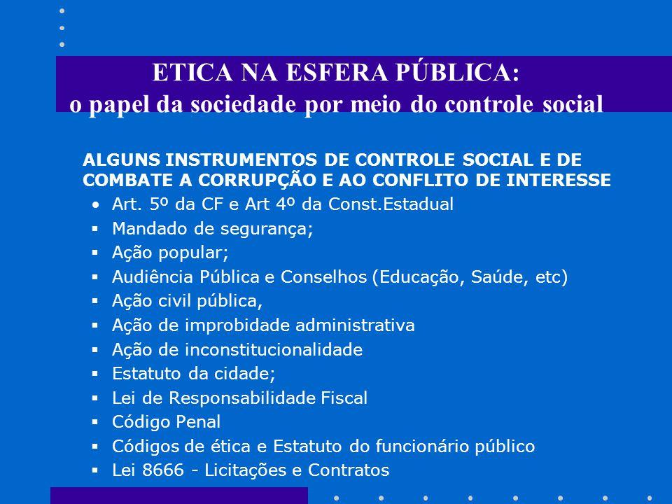 ETICA NA ESFERA PÚBLICA: o papel da sociedade por meio do controle social ALGUNS INSTRUMENTOS DE CONTROLE SOCIAL E DE COMBATE A CORRUPÇÃO E AO CONFLITO DE INTERESSE Art.