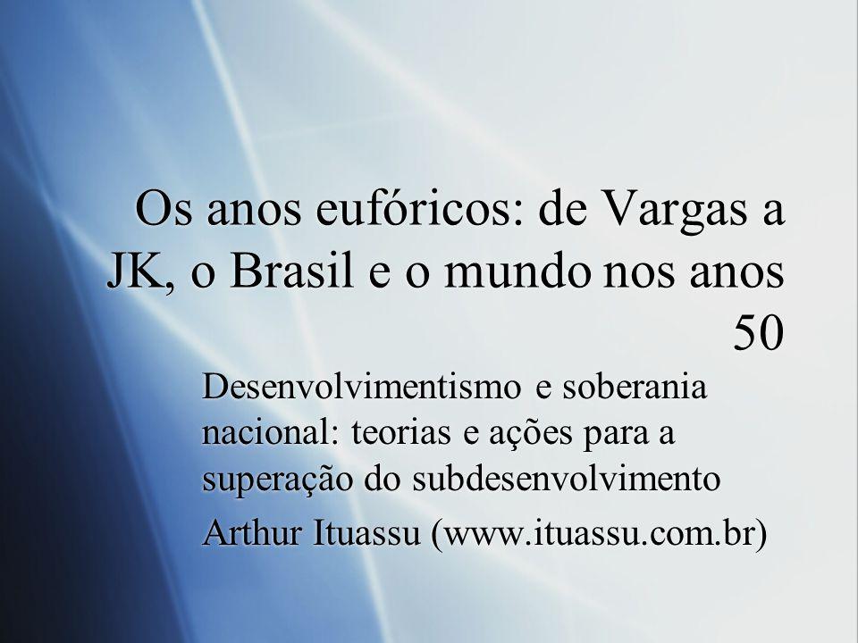 Os anos eufóricos: de Vargas a JK, o Brasil e o mundo nos anos 50 Desenvolvimentismo e soberania nacional: teorias e ações para a superação do subdese