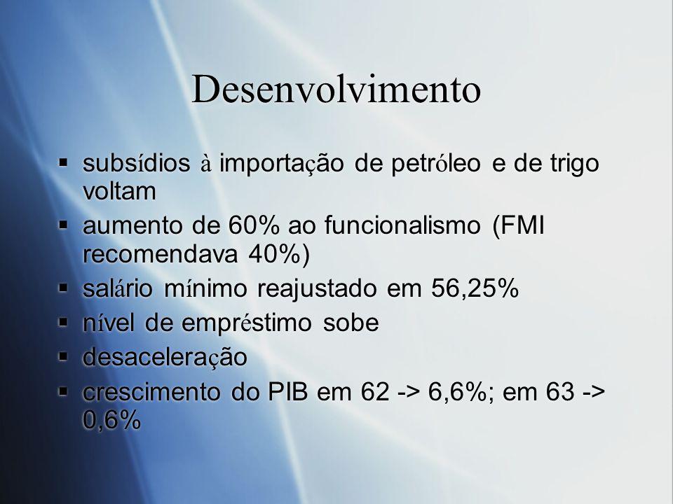 Desenvolvimento subs í dios à importa ç ão de petr ó leo e de trigo voltam aumento de 60% ao funcionalismo (FMI recomendava 40%) sal á rio m í nimo re