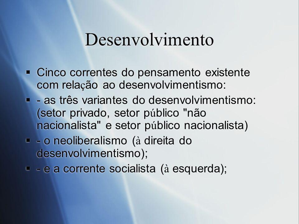 Desenvolvimento Cinco correntes do pensamento existente com rela ç ão ao desenvolvimentismo: - as três variantes do desenvolvimentismo: (setor privado