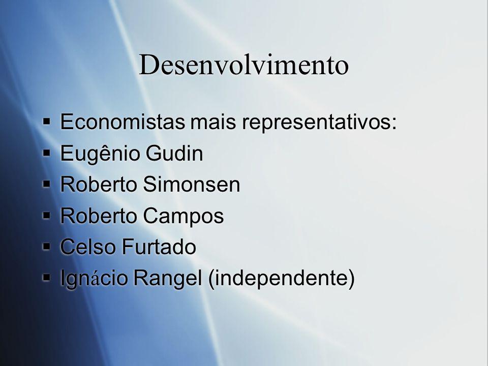 Desenvolvimento Economistas mais representativos: Eugênio Gudin Roberto Simonsen Roberto Campos Celso Furtado Ign á cio Rangel (independente) Economis