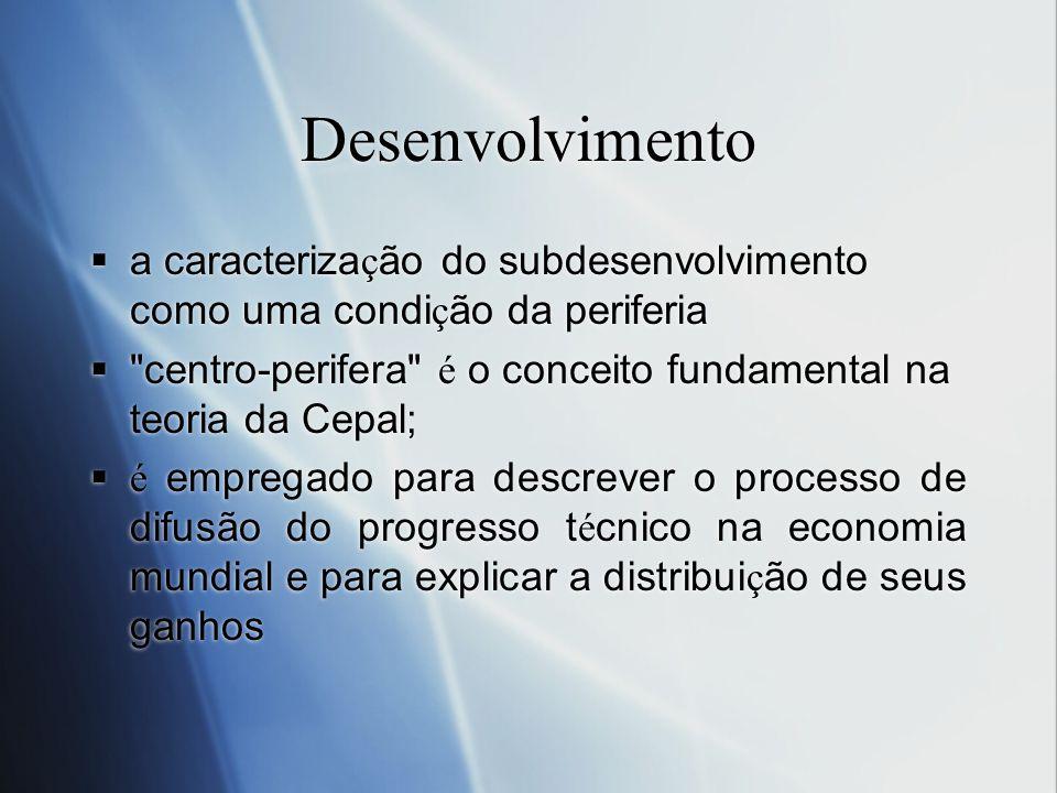 Desenvolvimento a caracteriza ç ão do subdesenvolvimento como uma condi ç ão da periferia
