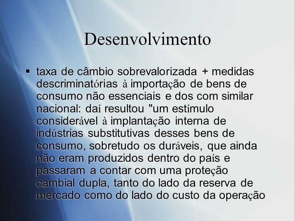 Desenvolvimento taxa de câmbio sobrevalorizada + medidas descriminat ó rias à importa ç ão de bens de consumo não essenciais e dos com similar naciona