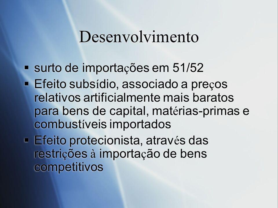 Desenvolvimento surto de importa ç ões em 51/52 Efeito subs í dio, associado a pre ç os relativos artificialmente mais baratos para bens de capital, m