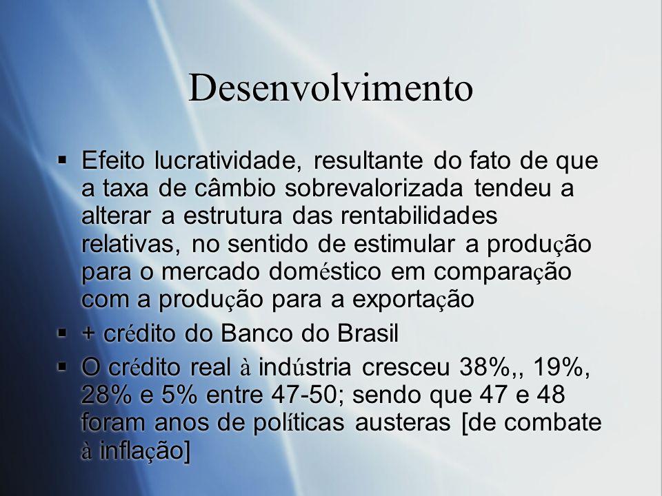 Desenvolvimento Efeito lucratividade, resultante do fato de que a taxa de câmbio sobrevalorizada tendeu a alterar a estrutura das rentabilidades relat