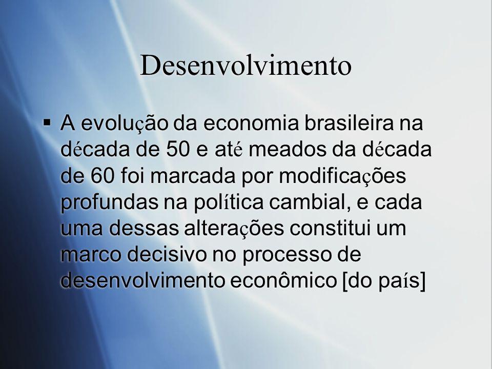 Desenvolvimento A evolu ç ão da economia brasileira na d é cada de 50 e at é meados da d é cada de 60 foi marcada por modifica ç ões profundas na pol