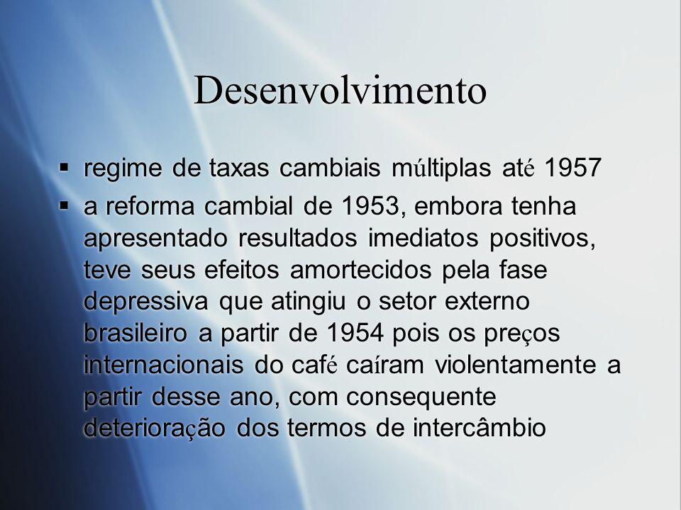 Desenvolvimento regime de taxas cambiais m ú ltiplas at é 1957 a reforma cambial de 1953, embora tenha apresentado resultados imediatos positivos, tev