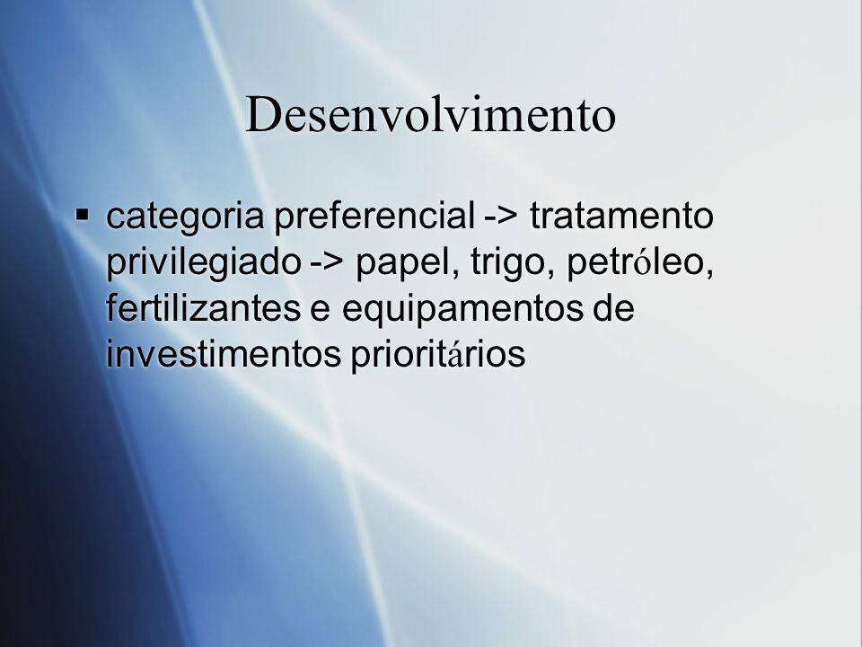 Desenvolvimento categoria preferencial -> tratamento privilegiado -> papel, trigo, petr ó leo, fertilizantes e equipamentos de investimentos priorit á