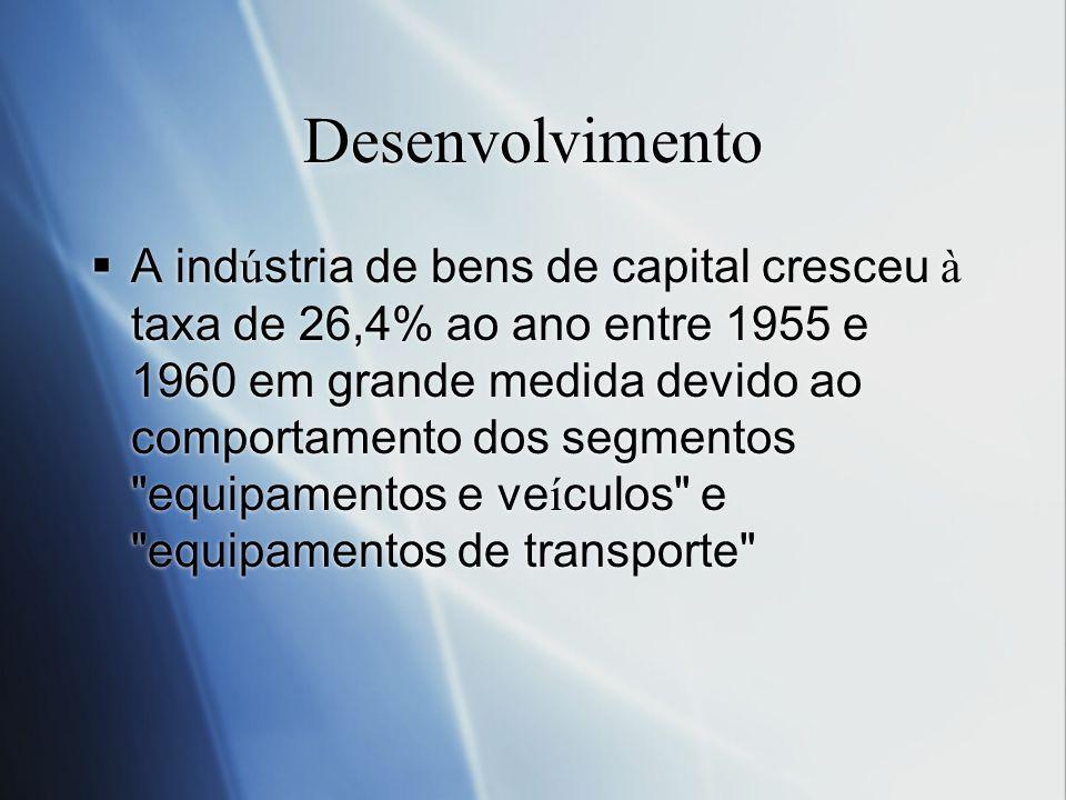 Desenvolvimento A ind ú stria de bens de capital cresceu à taxa de 26,4% ao ano entre 1955 e 1960 em grande medida devido ao comportamento dos segment