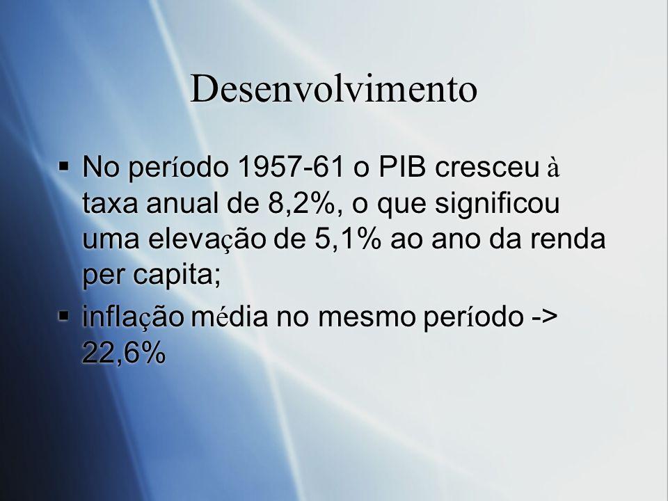 Desenvolvimento No per í odo 1957-61 o PIB cresceu à taxa anual de 8,2%, o que significou uma eleva ç ão de 5,1% ao ano da renda per capita; infla ç ã