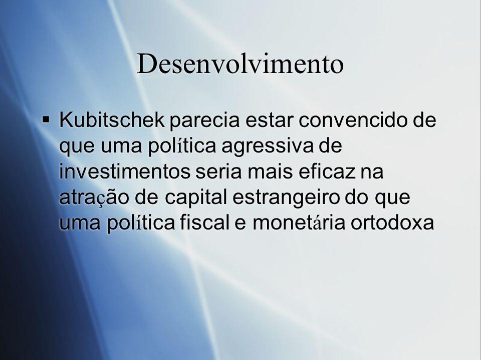 Desenvolvimento Kubitschek parecia estar convencido de que uma pol í tica agressiva de investimentos seria mais eficaz na atra ç ão de capital estrang